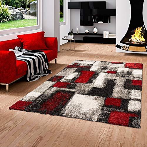 Pergamon Hochflor Langflor Shaggy Teppich Milano Rot Grau Karo in 5 Größen