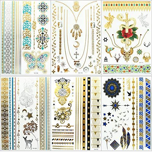 Nwhzl Metallic Henna Tattoos Boho Mandala, 6 Sheets 75+ Motiven temporäre Tattoos Flash Gold und Silber, Geeignet für Hochzeiten, Partys, Strände8