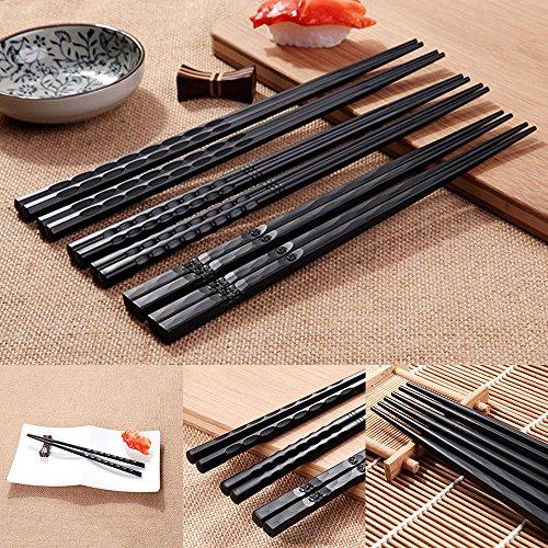 Hanbaili Chop Sticks Conveniente Chopsticks with Japonés Aleación Sushi Cocina
