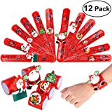 TOYMYTOY Weihnachtsklaps-Armbänder, LED beleuchtet Sankt-Weihnachtsarmband für Kinder, 12 PCS