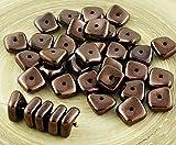 20pcs Metallisch Glänzendes Bronze-Braun Glanz-Flach Gewellten Quadrat-Chip Waschmaschine Tschechische Glas-Perlen 10mm x 4mm