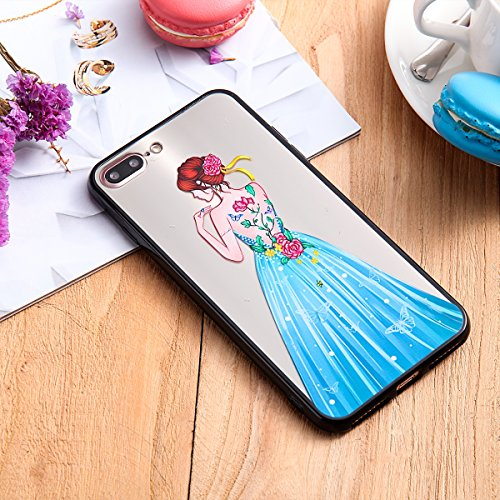Custodia iPhone 7 Plus, iPhone 7 Plus Cover Silicone, SainCat Custodia in Silicone Morbida e Hard PC Protettiva Cover per iPhone 7 Plus, Custodia Antiurto Ultra Slim Silicone Case Ultra Sottile Soft T Gonna Blu