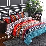 wide smile Bettwäsche-Set, marokkanisch, Bohemian, für Doppelbett, Ethno-Stil, exotischer Stil, Mandala-Boho-Bettwäsche, Rot1, Doppelbett