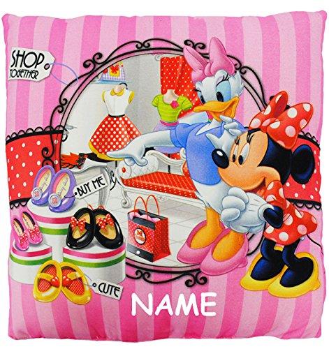 """Preisvergleich Produktbild Kissen / Schmusekissen / Sitzkissen - """" Disney - Minnie Mouse & Daisy """" - incl. Name - Kuschelkissen - 35 cm * 35 cm - groß - sehr weich - Kinder & Erwachsene - Microfaser - für Mädchen - Reisekissen / Autokissen - Maus / Mäuse Playhouse - Mickey - Minni rosa Herzen - Stoffkissen / Kinderkissen - Zierkissen - Kinderzierkissen"""