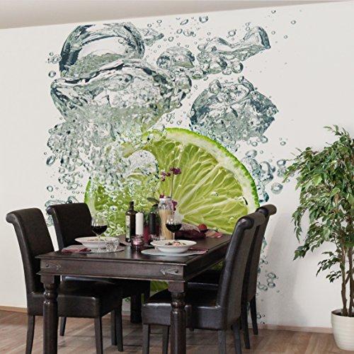 *Apalis Vliestapete Küchentapete Lime Bubbles Fototapete Quadrat | Vlies Tapete Wandtapete Wandbild Foto 3D Fototapete für Schlafzimmer Wohnzimmer Küche | Größe: 240×240 cm, grün, 97802*