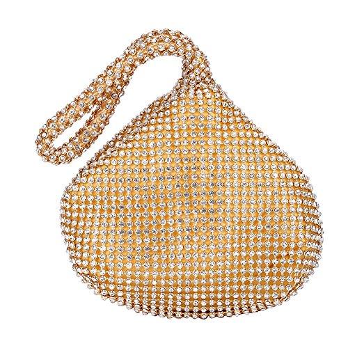 Tmishion elegante mini clutch, borsetta, borsa vintage con strass per uso quotidiano (3 colori)(oro)