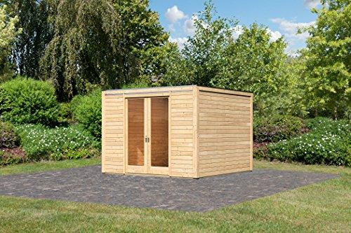 Karibu Gartenhaus Cubus Front 1 naturbelassen 28 mm