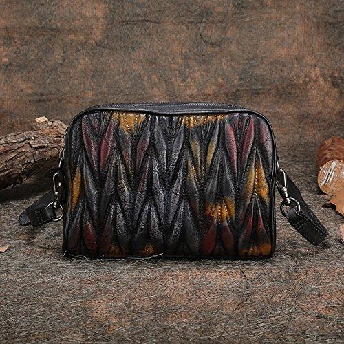 Messenger Bag Vintage fashion original en acier inoxydable d'épaule en cuir sac à main sac à main Color-black