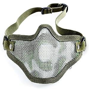 Demi masque en maille métallique pour Airsoft/chasse tactique protection Combat Camouflage Strike Paintball