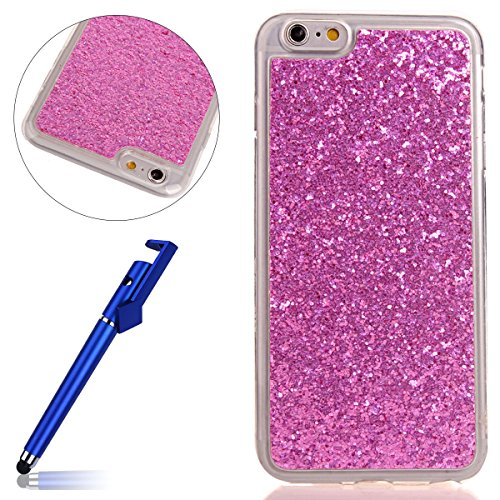 Custodia iphone 6S 4.7, Cover per iphone 6 Silicone, iphone 6S Glitter Cover, MoreChioce Moda Glitter Sparkle Bling bling Brillante Morbido 3d Gel TPU Silicone Gomma Cover Case Custodia per iphone 6 4 C-Hot Pink