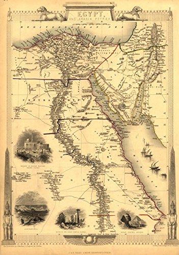 Grande A1 Egipto Arabia Petraea egipcio mapa muestra