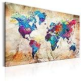 murando - Bilder 120x80 cm - Leinwandbild - 1 Teilig - Kunstdruck - Modern - Wandbilder XXL - Wanddekoration - Design - Wand Bild - Weltkarte Kontinente Welt Karte k-A-0179-b-c