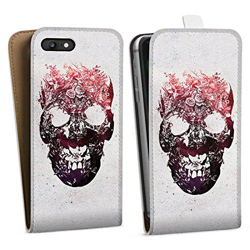 Apple iPhone X Silikon Hülle Case Schutzhülle Totenkopf Skull Schädel Downflip Tasche weiß