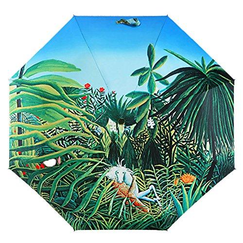 Ukallaite Fashion Spring Scenery Pattern Summer UV Protection Rain Sun Foldable Umbrella