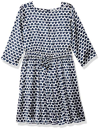 LOOK by crewcuts Mädchen Langarm Kleid, Navy Heart Stack, X-Large (12)