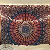 Multi-colored Mandala Tapestry Indian Wall Hanging, Bedsheet by Craftozone (Double (230x220 cms), Dark Blue)
