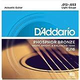 D'Addario EJ16 Cordes en bronze phosphoreux pour guitare acoustique Léger 12-53