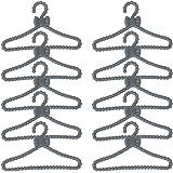 12 Pcs Cintres Miniatures de Vêtement de Poupée en Plastique Accessoires pour Maison de Poupée - Gris
