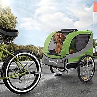 Happypet Fahrrad-Anhänger für Hunde M Hundeanhänger Hundefahrradanhänger Hundetransporter Regenschutz inkl. Anhängerkupplung Regenschutz Leave GRÜN