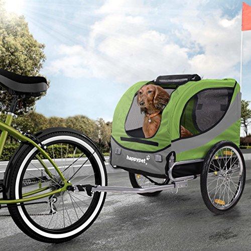 Happypet Hundeanhänger Hundetransporter Fahrradanhänger Hunde Fahrrad Anhänger Regenschutz inkl. Anhängerkupplung Regenschutz Leave GRÜN