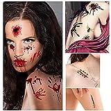Halloween Tattoos 10 Stück 80+ Zombie Blutigen Narben Makeup Horror Spinne Kürbis Temporäre Aufkleber