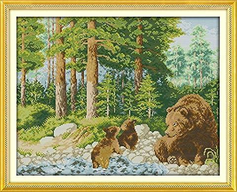 Gutes Preis Kreuzstich Kits Anfänger Kinder anspruchsvoll–Glück der forest11CT 61x 50,8cm DIY handgefertigt Naht Set Kreuzstich Präzise Prägung Muster Stickerei (Stickerei Scroll Frames)