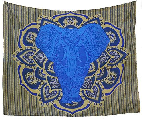 Kesrie arazzo da parete blu grande con mandala e antichi simboli geometrici stampa indiana