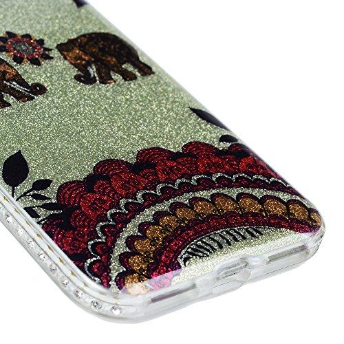 "MAXFE.CO PC Handyhülle für iPhone 7 4.7"" TPU Rahmen + PC Schale Hülle Tasche Back Cover Etui Rück Schutzhülle Harte Kunststoff PC Phone Case Hüllen mit Blumen Design Elefant"