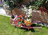 60 cm Sackkarren, Kleine Schubkarren 60 cm mit Holz - Deko HSOF-60-PINK Holzlager, Holz, rot pink rosa rosarot umweltfreundlich lasiert mit Lasur auf Wasserbasis auch als Brennholz-Lager, tolles Geschenk als Kamin - Deko statt Kaminkorb oder großem Holzkorb