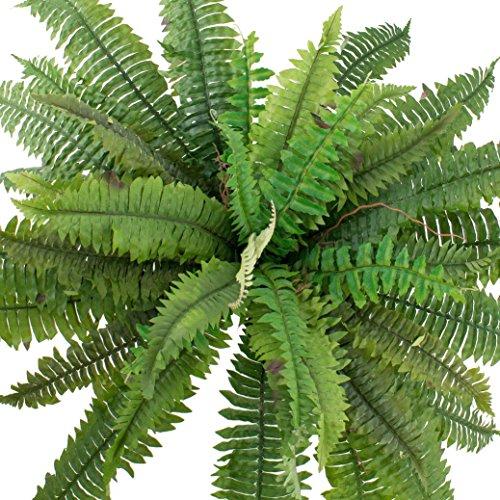 artplants Künstlicher Schwert-Farn Samuel mit 42 Blättern, grün, Ø 80 cm, 55 cm – Kunststoff Farn/Deko Farn