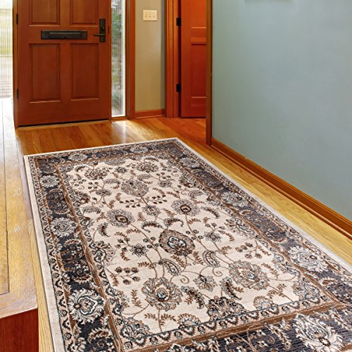 Alfombra Oriental Persa Diseño Clásico BORDURA Blanco Tamaño S-XXXL (140 x 200 cm)
