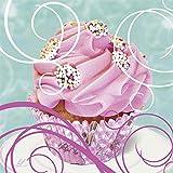 Artland Qualitätsbilder I Glasbilder Deko Glas Bilder 20 x 20 cm Ernährung Genuss Süßspeisen Dessert Foto Pink Rosa A6GW Cupcake auf petrol - Kuchen