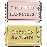 2pcs / Set Cartoon Badges Film Biglietti Spille Per Le Donne Lettera Ticket To Anywhere Zaino Pin Smalto Gioielli Regalo