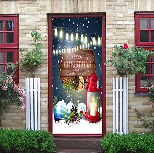 LXHLXN Schnee-Tagesfröhliche Weihnachtslaterne-hölzernes Unterschriften-Licht warme Dekoration-Wandaufkleber -