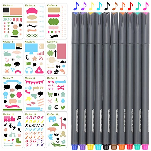 KEDIOR 12 Pezzi Stencil Bullet Journal e 10 Pezzi Penne Colorate per Scrapbooking o Diario Fai da Te Creativo