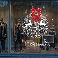 Tefamore Noël Salon Noël père Noël Snowman Elk Stickers muraux Décor de fenêtre (Multicolore-B)