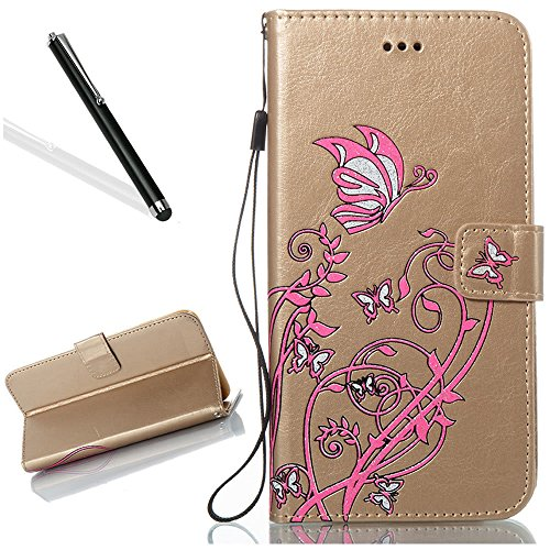 Custodia in Pelle per iPhone 5 5S,Portafoglio Wallet Cover per iPhone SE,Leeook Retro Elegante Goffratura Rosa Farfalla Fiore Modello Cordoncino Snap-on Magnetico Carte Slot e Supporto Funzione Bookst Farfalla,Oro