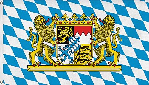 Flagge Bundesländer 90 x 150 cm - Fahne mit zwei Metallösen zur Befsetigung und zum Hissen Farbe Bayern