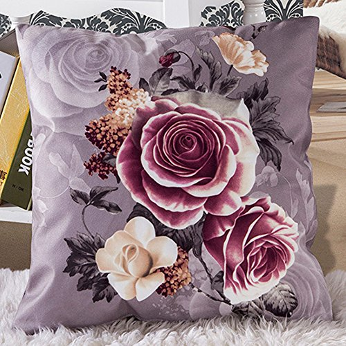Kissenbezug, favolook 45,7x 45,7cm Vintage Rose Blume Baumwollleinen, quadratisch Auto Sofa Home Decor Bean