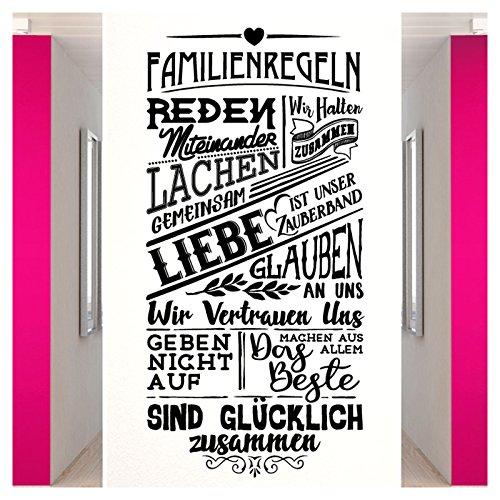 Wandora W1518 Wandtattoo Spruch Familienregeln I weiß (BxH) 58 x 120 cm I Familie Regeln Flur Diele Wohnzimmer Wandaufkleber Wandsticker