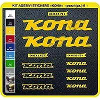 0101 - Pegatinas para bicicleta Kona, en kit de 9 unidades (diferentes colores)