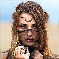 Anglacesmade, Catena da posizionare sulla fronte con cristalli e pendente a forma di mezzaluna, stile rétro bohémien…