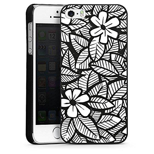 Apple iPhone 4 Housse Étui Silicone Coque Protection Fleurs Fleurs Feuilles CasDur noir