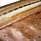 HH-NN-1968 5cm Stoffprobe Seidenstoff Jacquard Karo rosa grau Meterware ca. 67cm breit (Kurzballen)