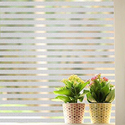 Schönes Leben* Glasdekorfolie Fensterfolie Sichtschutzfolie Selbstklebend Milchglasfolie Fensteraufkleber Fenster Aufkleber Ohne Klebe 90x200 cm (Streifen)