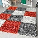 mynes Home Hochflor Shaggy Teppich kariert in versch. Farben und Größen Langflor Teppiche für Wohnzimmer und Jugendzimmer. (200 x 290 cm, Orange)
