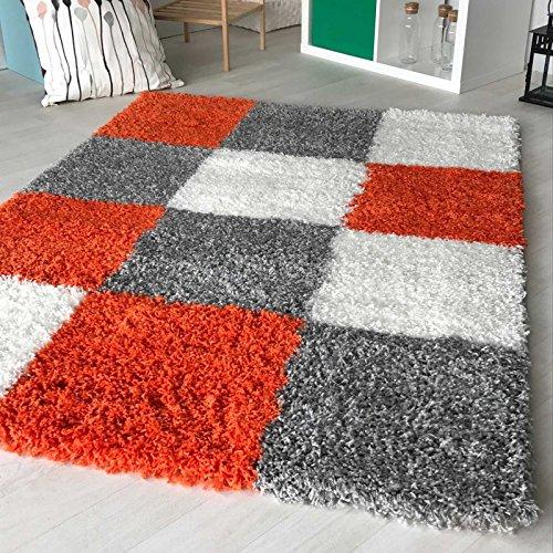 Hochflor Shaggy Teppich kariert in versch. Farben und Größen Langflor Teppiche für Wohnzimmer und Jugendzimmer. (160 x 230 cm, Orange)