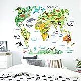 Grandora W5181 tatuaggio a muro animali mappa del mondo I 95 x 73 cm I mondo Atlante pianeta piantina vivaistica autoadesivo adesivo adesivi murali autoadesivo da muro