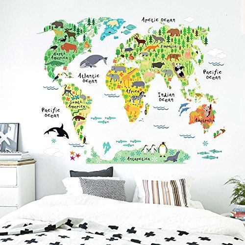 Grandora Wandtattoo Tiere Weltkarte I 95 x 73 cm I Welt Atlas Karte Landkarte Kinderzimmer selbstklebend Aufkleber Wandsticker Wandaufkleber W5181 (Karten, Atlanten,)