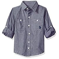 U.S. Polo Assn. Boys' Long Sleeve Chambray Sport Shirt, classic navy, 2T